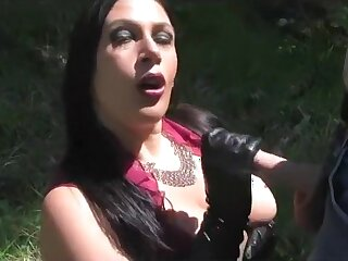 Busty Sunshine Lady - Outdoor Blowjob Handjob with Yearn Leather Gloves - Cum on my Tits