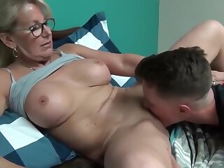 Crazy and of age milf seduces and fucks her young stepson