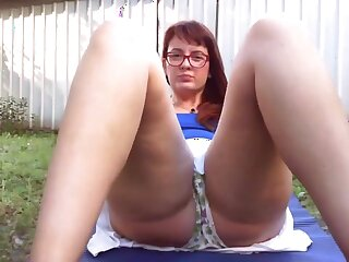 Big piss in the garden greatest extent my neighbors spy exposed to me