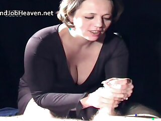 Thick woman in black huge oily handjob