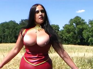 Busty Red Latibulize Demiurge - Open-air Blowjob Handjob with Red Nails - Fuck my Mouth - Cum exposed to my Tits