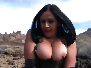 Leather Lady concerning Long Black Gloves - Tenerife Public Blowjob Handjob - Cum on my Knockers