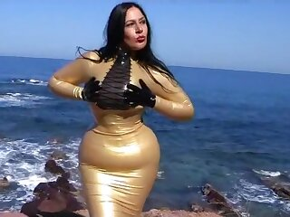 Golden Latex Dream - Blowjob Handjob with Black Latex Gloves - Cum on my Latex Shirt