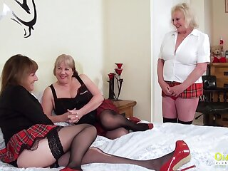 Threesome sexual band with three busty british lesbian matures and sex toys
