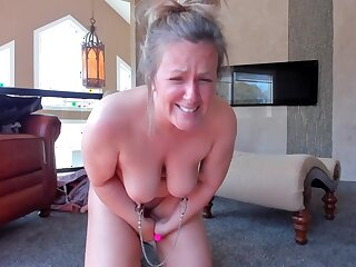 Curvy milf with clamped nipples toys and cums hard