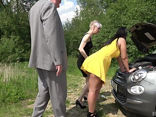 Outdoor foursome is good experience of adult lady added to say no to hot friend
