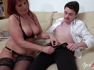 Horny redhead mature lady got seduced by younster scantling and fucked