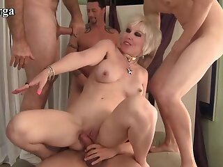 Horny mature battalion and horseshit hungry grannies realize gangbanged by five men