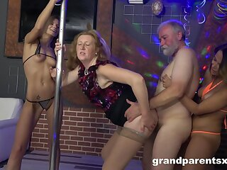 After strip act show two ladies get their cunts fucked at the end of one's tether a dude