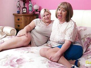 Well-endowed mature ladies using sex toys for lesbian masturbation