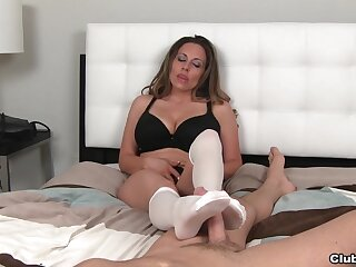 Busty mature Sienna Lopez in socks pleasures her horny lover