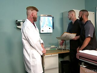 Gay threesome in front doctor's office with matured orderlies