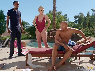 Busty blonde mature Dee Williams gets her pussy banged by rub-down the pool