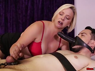 Blonde mature old bag in red lingerie sucks a dick and a strapon