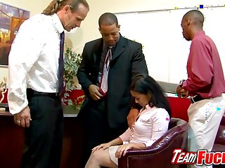 Asian milf gives nice blowjobs to a group be expeditious for guys fro a meeting