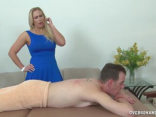 Tow-haired Angela Allwod is a massage therapist that every man goes to
