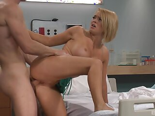 Horny anyhow persuades hot blonde nurse Krissy Lynn to shot at sexual connection with him