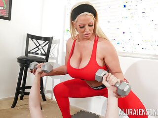 Enormous fake juggs Alura Jenson gives a titjob with the addition of gets fucked