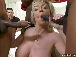 Herculean interracial gangbang for whore of a wife Dee Williams