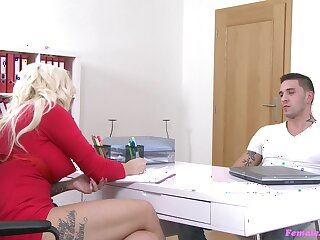 Blonde casting agent Jarushka Ross sucks increased by gets fucked by a big dick