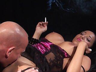 Milf smokes while taking the blarney in merciless XXX