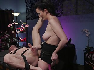 Busty milf acts dominant with her obedient male right-hand man