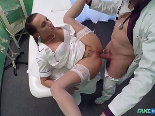 Aroused babe takes it in both holes during a doctor's grilling