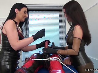 BDSM girls Reputation Mistress Luci and Krankenschwester Eins torture a menial