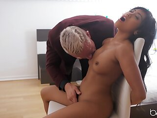 Asian with tiny tits, chief time sex play with an older beggar