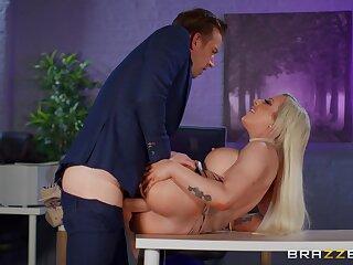 Chubby breasts sinner Skyler McKay fucked permanent in hammer away office