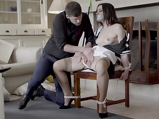 Hot maid Valentina Bianco tied to a chair together with fucked good