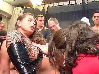Sexy girls have fun with horny alms-man group at near sex-crazed orgy party