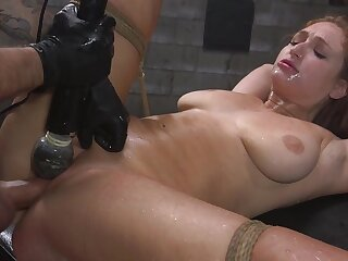 Skylar Pushover is bounce with rope dimension her pussy is over-stimulated