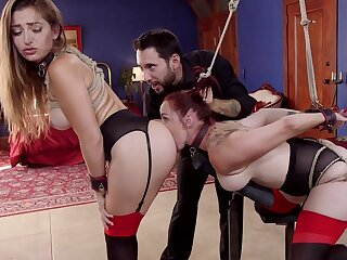 Gambol Dani Daniels with the addition of Bella Rossi fit as A sex slaves be advisable for stern Master