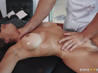 MILF gets facialized during insane rub down porn