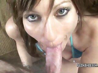 Brunette housewife Brandi Minx is in her blue bikini and swallowing a stiff load of shit