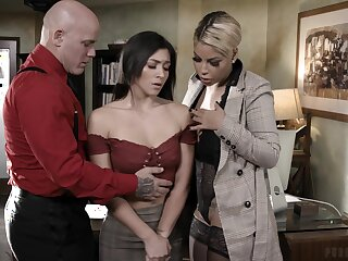 Busty headmistress Bridgette B and brutal teacher Derrick fuck naughty student Brooklyn Gray