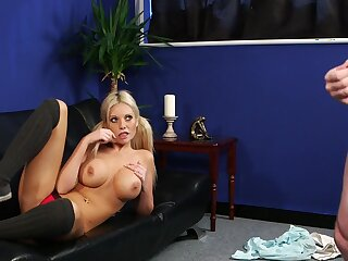 First time this busty blonde watches the man jerking off