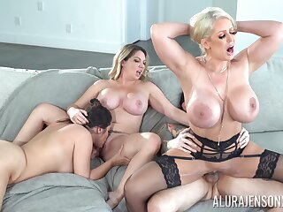 Three busty babes team up to be fucked by on tattooed stud