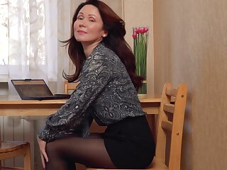 Hot elegant MILF happens to love getting naked and she masturbates a lot