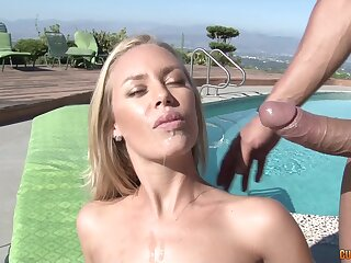 Athletic blonde hottie sucks cock and is boned hard by the pool