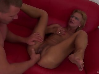 Dirty mature blonde gets fucked about her mouth and pussy by a lover
