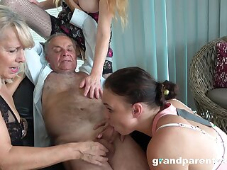 Old man takes his pill together with fucks rub-down the slutty mature in crazy action