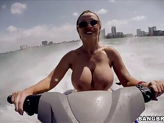 Fake boobs MILF Nikki Benz sucks a dick and gets fucked in out like a light