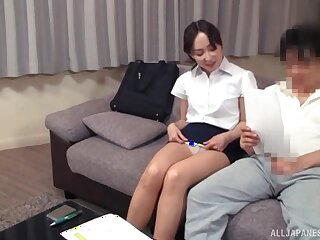 Kinky Asian girl gets on her knees to suck a dick of a shy guy