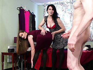 Clothed women share marvelous CFNM on cam